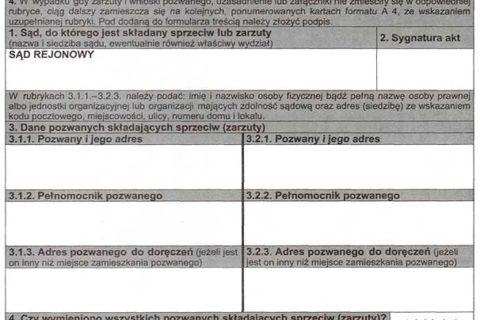 Sprzeciw od nakazu zapłaty formularz wzór jak złożyć opłata - Conectum.pl